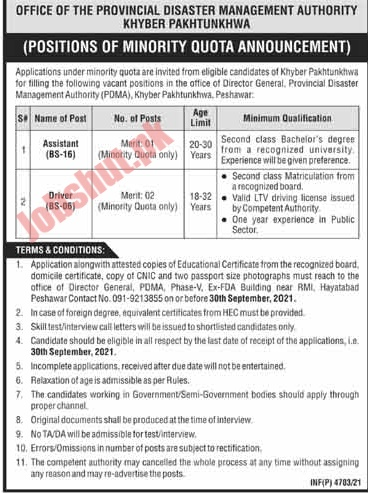 Provincial Disaster Management Authority PDMA Component jobs advertisement