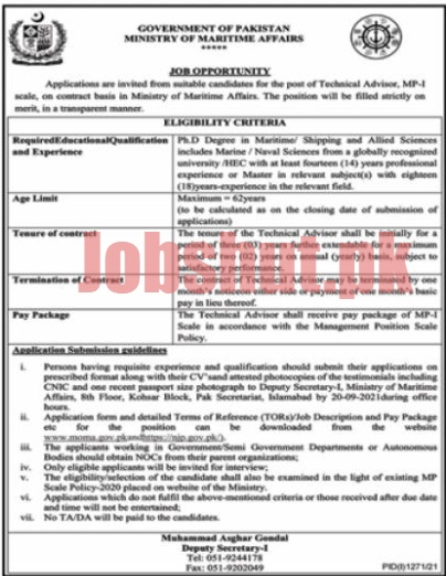 Ministry Of Maritime Affairs jobs advertisement