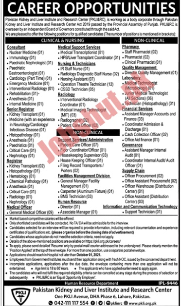 Pakistan Kidney And Liver Institute Of Research Centre jobs advertisement