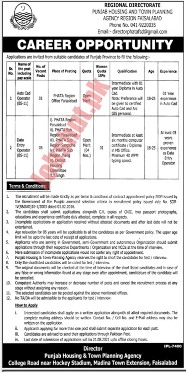 Punjab Housing And Town Planning Agency jobs advertisement