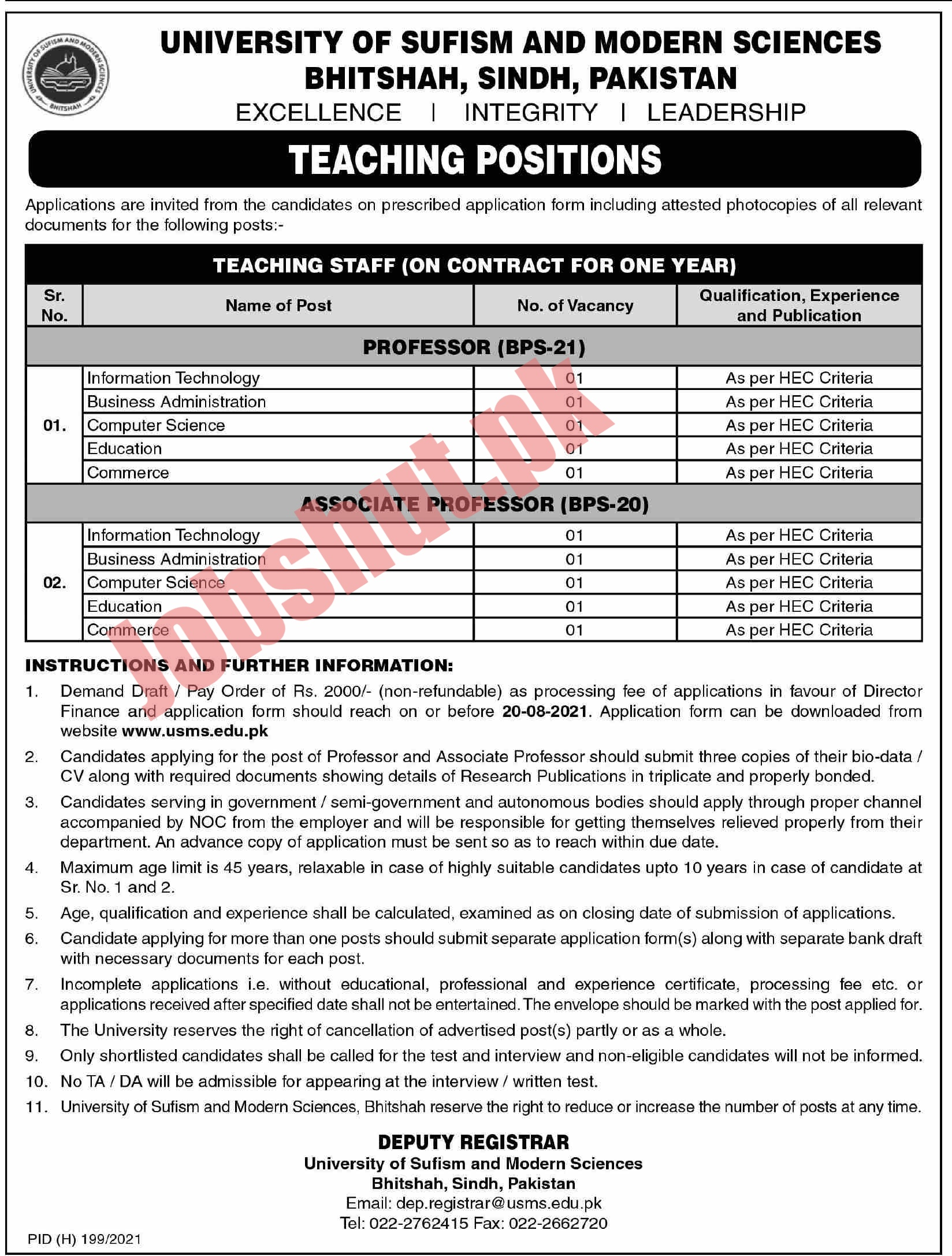 The University Of Sufism and Modern Sciences Bhitshah jobs advertisement