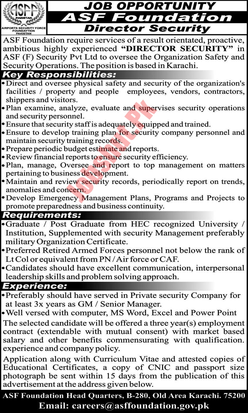 Airport Security Force jobs advertisement