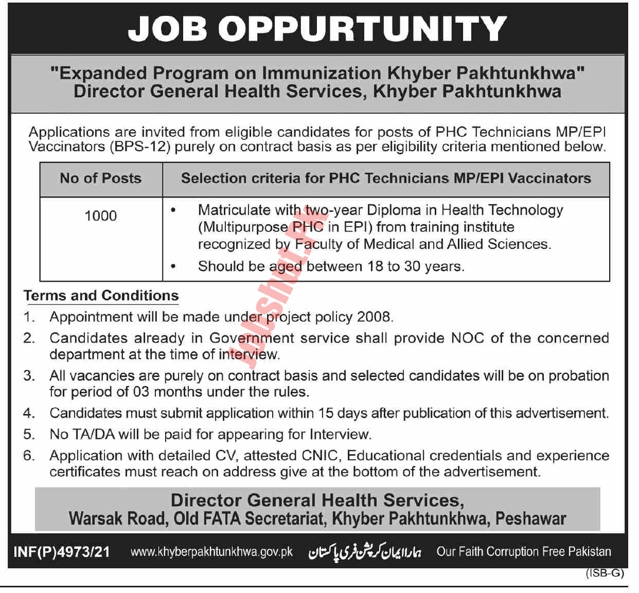 Directorate Of Health Services jobs advertisement