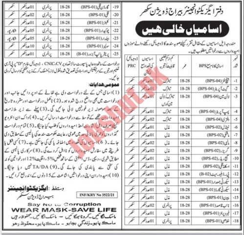 Office of the Executive Engineer Barrage Division Sukkur jobs advertisement