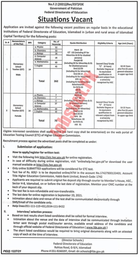 Federal Directorate Of Education jobs advertisement