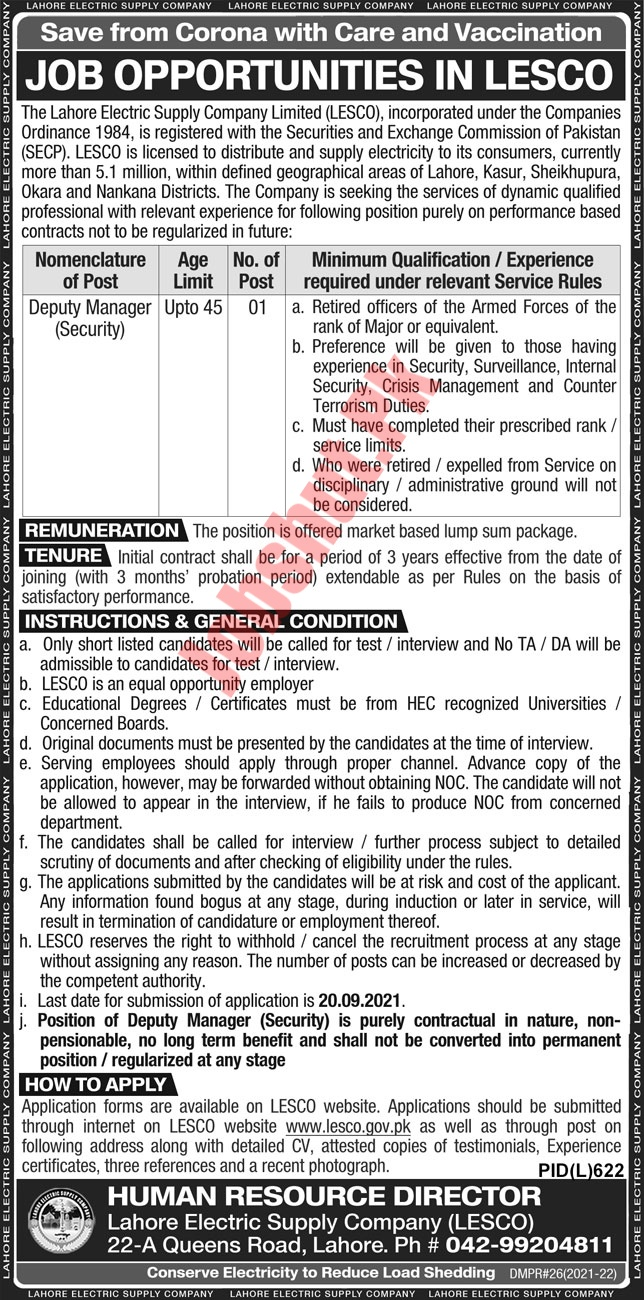 Lahore Electric Supply Company Limited jobs advertisement