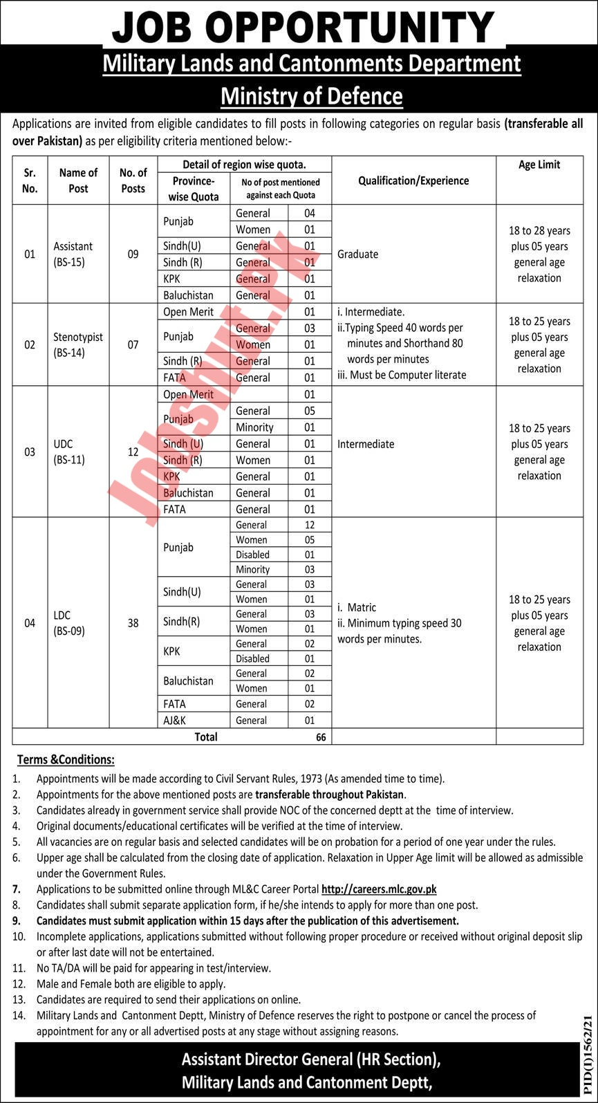 Military Lands and Cantonments jobs advertisement