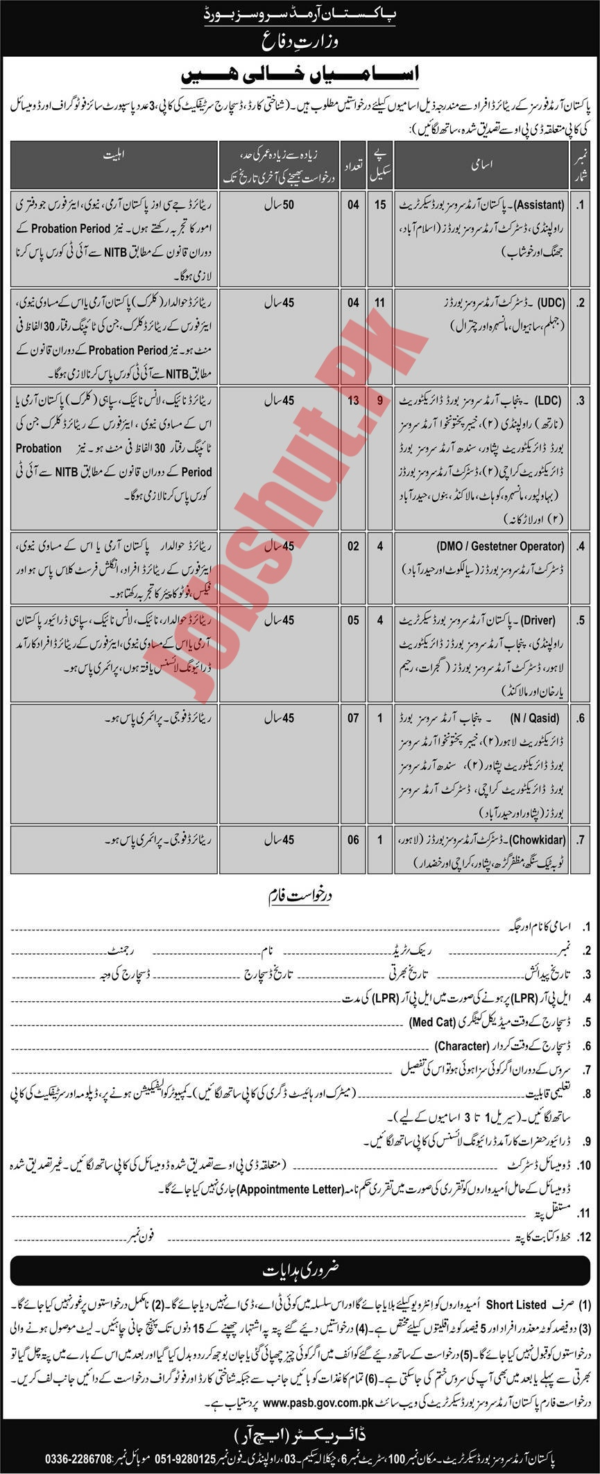 Pakistan Armed Services Board Ministry of Defence Rawalpindi jobs advertisement