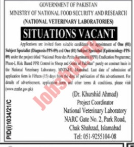 Ministry of National Food Security and Research jobs advertisement