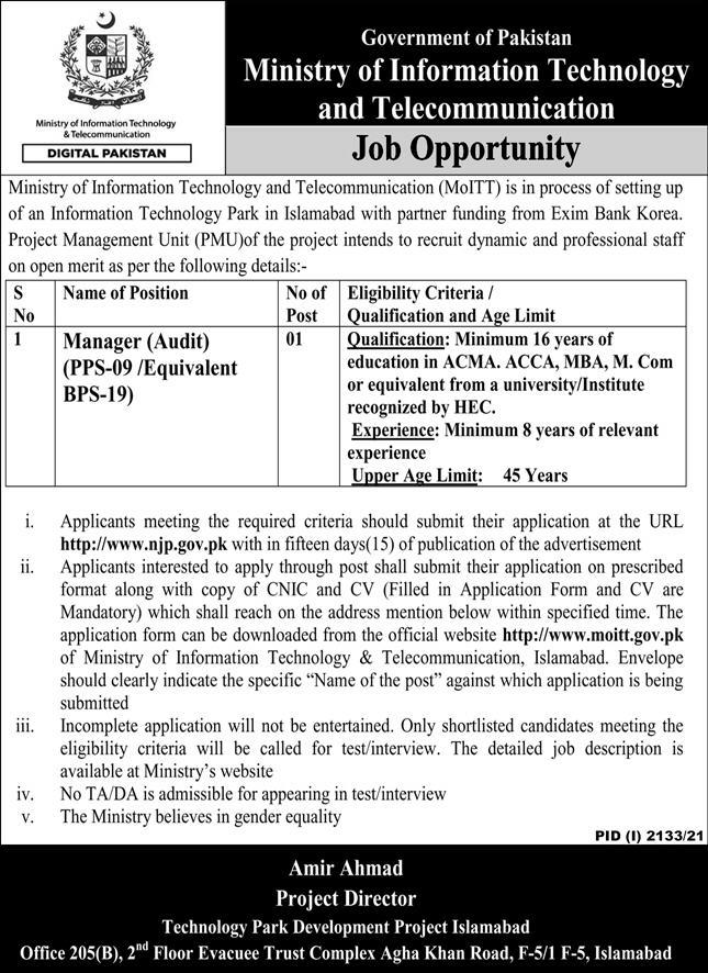 Ministry Of Information Technology and Telecommunications jobs advertisement
