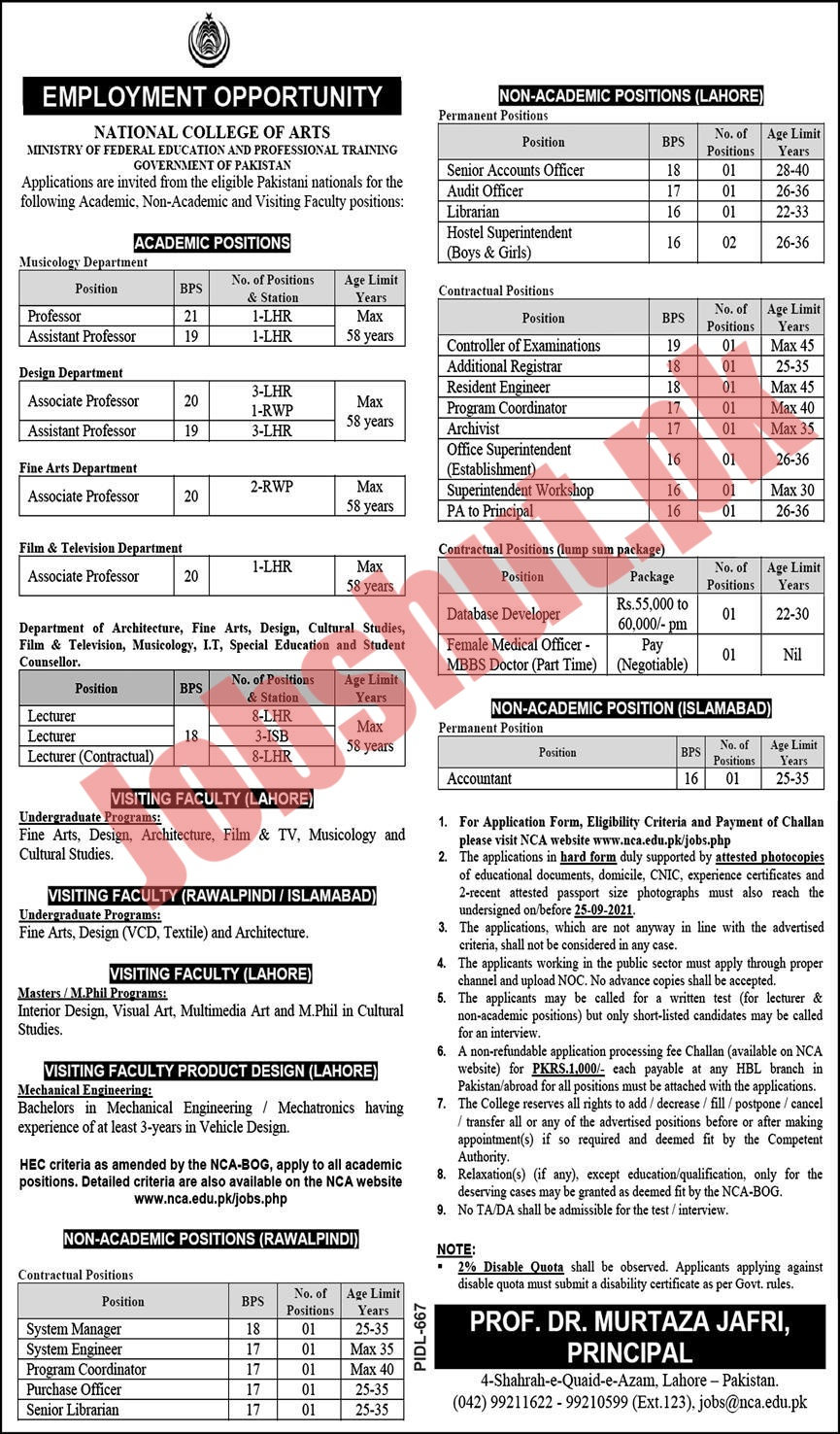 Ministry Of Federal Education and Professional Training jobs advertisement
