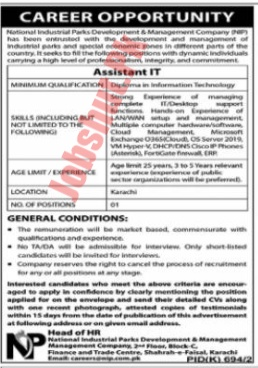 National Industrial Parks development and Management Company jobs advertisement