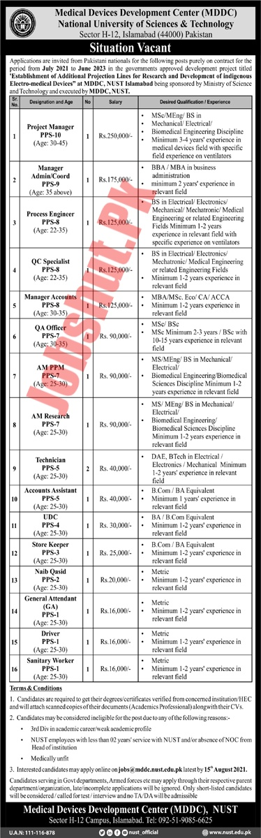National University Of Sciences And Technology jobs advertisement