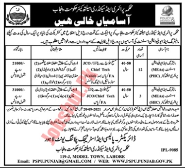 Govt of Punjab Primary and Secondary Healthcare Department Lahore jobs advertisement