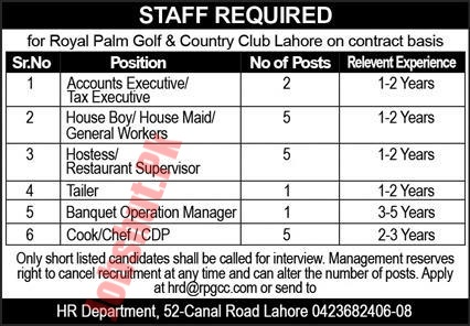 Royal Palm Golf and Country Club Lahore jobs advertisement