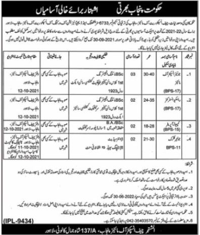 Mines and Minerals Government of the Punjab jobs advertisement