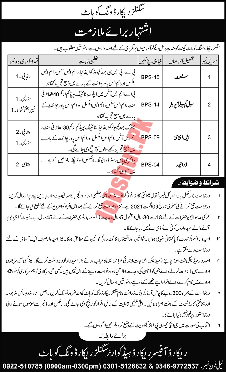 Pak Army Signals Record Wing Kohat jobs advertisement