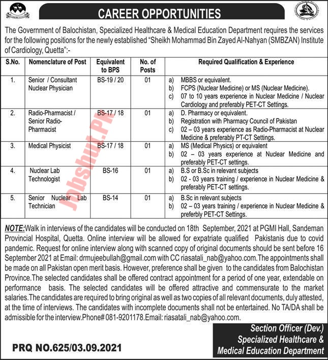 Specialized Healthcare and Medical Education Department Govt of Balochistan jobs advertisement