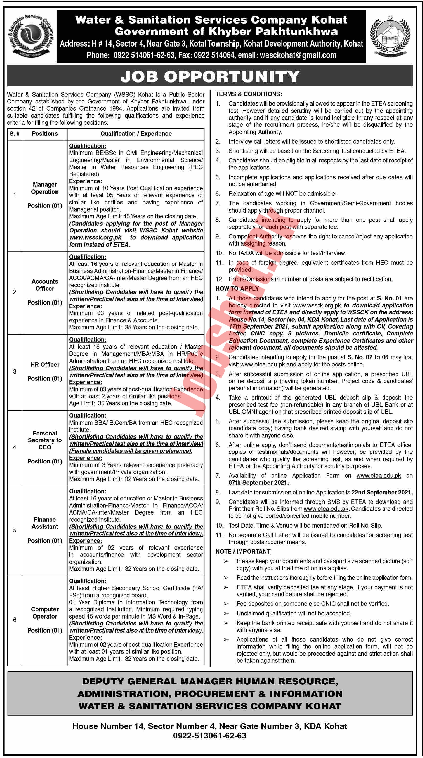 Water and Sanitation Services Company Kohat jobs advertisement